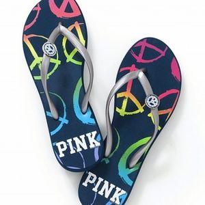 VS Pink Peace Flip Flops